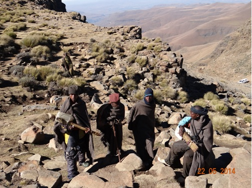 Basotho Boys play music for us outside the Highest Pub in Africa in Lesotho on our Sani Pass Day Tour from Durban 22 May 2014