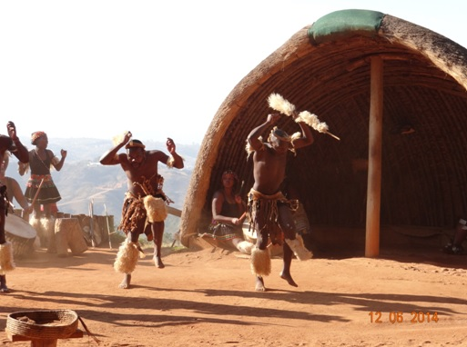Animated Zulu Dancers on our Durban Day Safari Tour to Tala and Phezulu in the Valley of 1000 Hills 12th June 2014