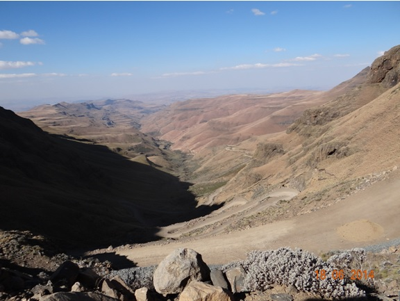 View down the pass from the Top of Sani Pass on our Durban Day Tour to Sani Pass Drakensberg 18th June 2014