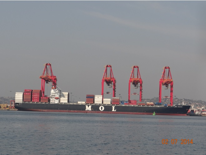 Container ship at Durban harbour on our Durban City Tour 2 July 2014