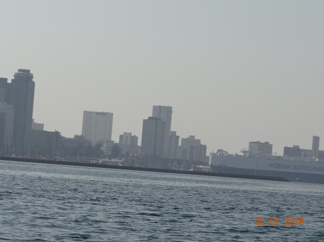 Durban City Sky line and car export ship at Durban harbour on our Durban City Tour 2 July 2014