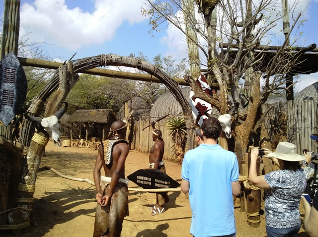 Asking for permission to enter the Homestead at Shakaland on our Durban Tour