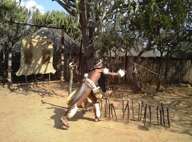 Spear throwing demonstration at Shakaland on our Durban day Tour