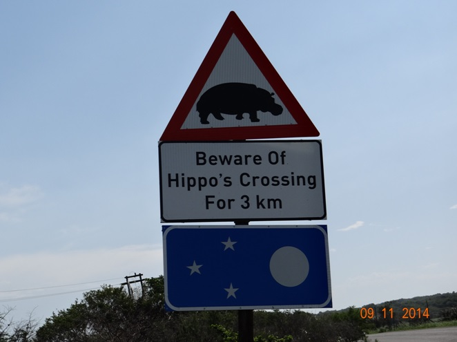 Hippo warning sign at St Lucia estuary om our 2 Day Durban Safari Tour