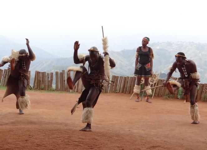 Phezulu Zulu Cultural Village Dancing on our Durban Day Tour