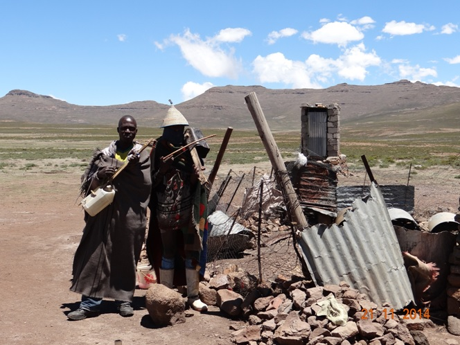 Sesotho Boys play home made musical instruments on our Durban Day Tour to the Drakensberg