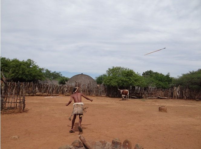 Zulu spear throwing demonstrated for us on our 5 Day Safari tour from Durban
