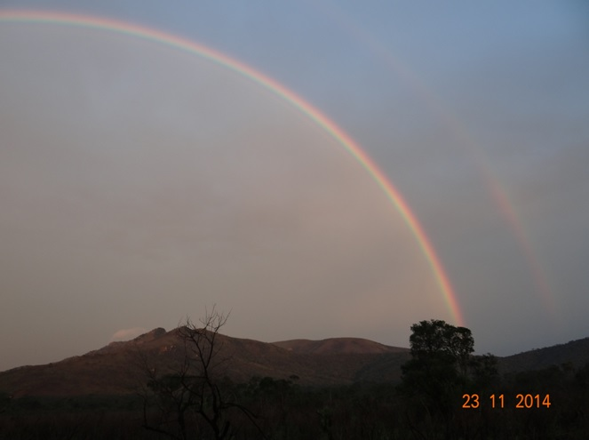 A double Rainbow after a storm in Hluhluwe game reserve during our Durban Safari Tour