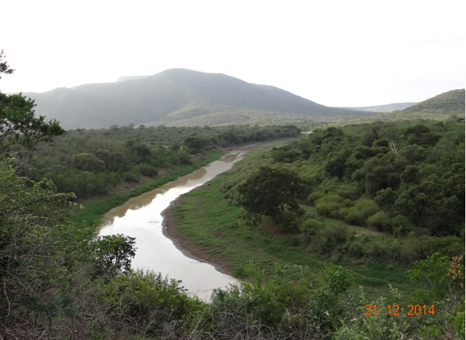 Hluhluwe river seen from a view sight in Hluhluwe Imfolozi game reserve