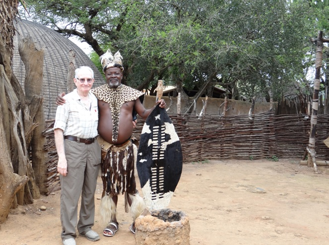 Shakaland day tour, Zulu man with one of my clients