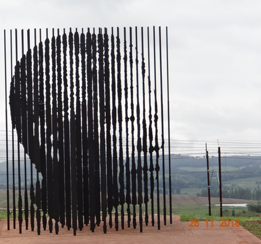 The new steel contruction which shows Madibas face only at one angle