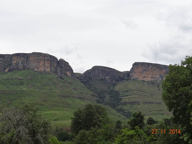 View of the area we hiked on Day 2 in the Northern Drakensberg on our Tour