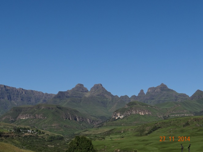 View on the second morning from my room of Catheral peak in the Drakensberg