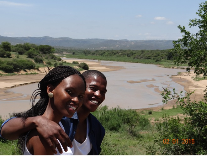 My clients and the umfolozi river during our Durban safari tour