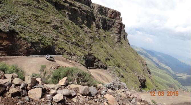 Drakensberg day tour, Sani Pass, View down the pass