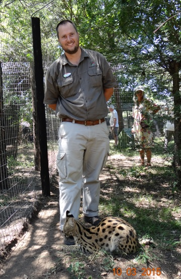 Durban 2 day safari; Serval took a liking to my boot
