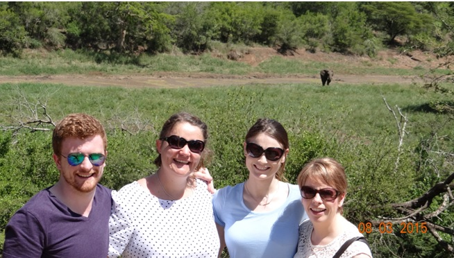 Durban day tour; Ed, Daniela, Sarah and Cathy with the Elephant