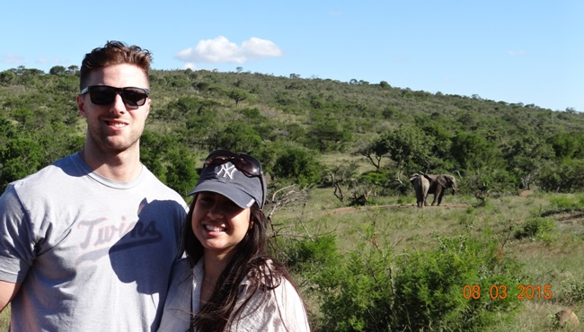 Durban day tour; Jason and Luma with the Elephants