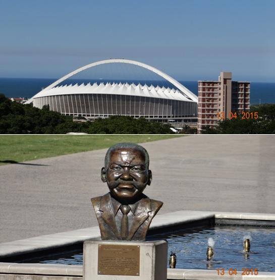 Durban half day tour; Moses Mabida stadium and Moses Mabida statue