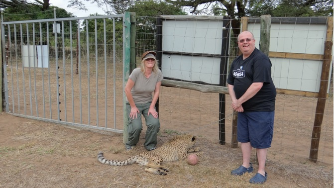 Durban overnight safari; My happy clients with a Cheetah cub