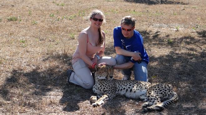 Durban 2 day safari; Guests with Cheetah