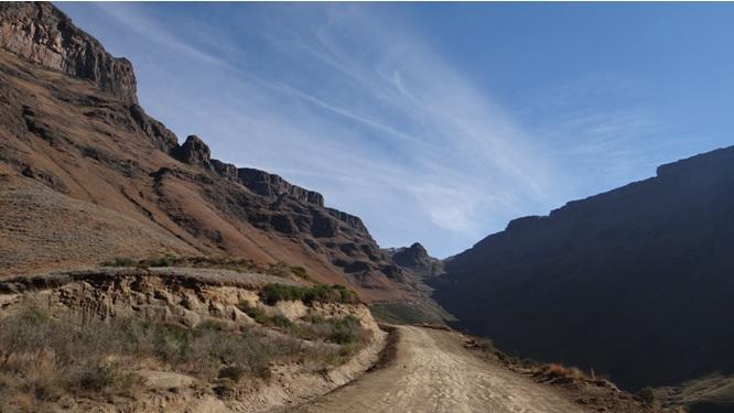 Drakensberg tour; Second view up Sani pass