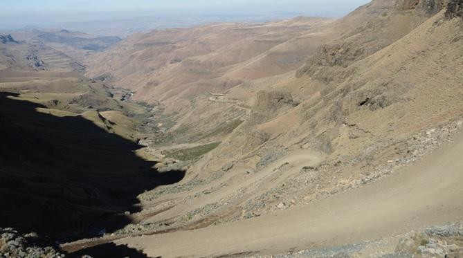 Drakensberg tour, View down Sani pass in the Drakensberg