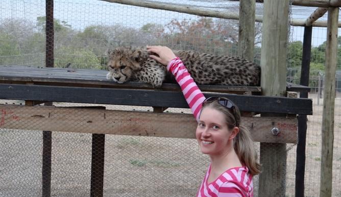 Hluhluwe Big 5 Safari; Claire with Cheetah at Cat rehab