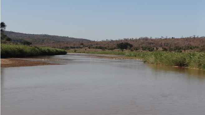 South African safari; Umfolozi river in flow