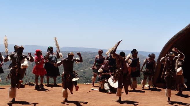Zulu culture tour; Traditional Zulus dancing in the Valley of 1000 hills