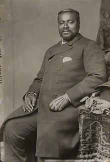 Cetshwayo meets with Queen Victoria of England on 14th August 1882 by Alexander Bassano, contact print, 1882