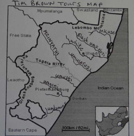 Prominent rivers of KwaZulu Natal in Zululand